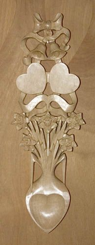 ~ Welsh love spoon ~ daffodils and wedding bells ~