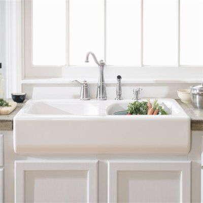 "Drop in style apron sink $299 34"" x 23"" x 10"" ATG stores by lowes faucet is installed on the back of the sink... no back piece of granite required"