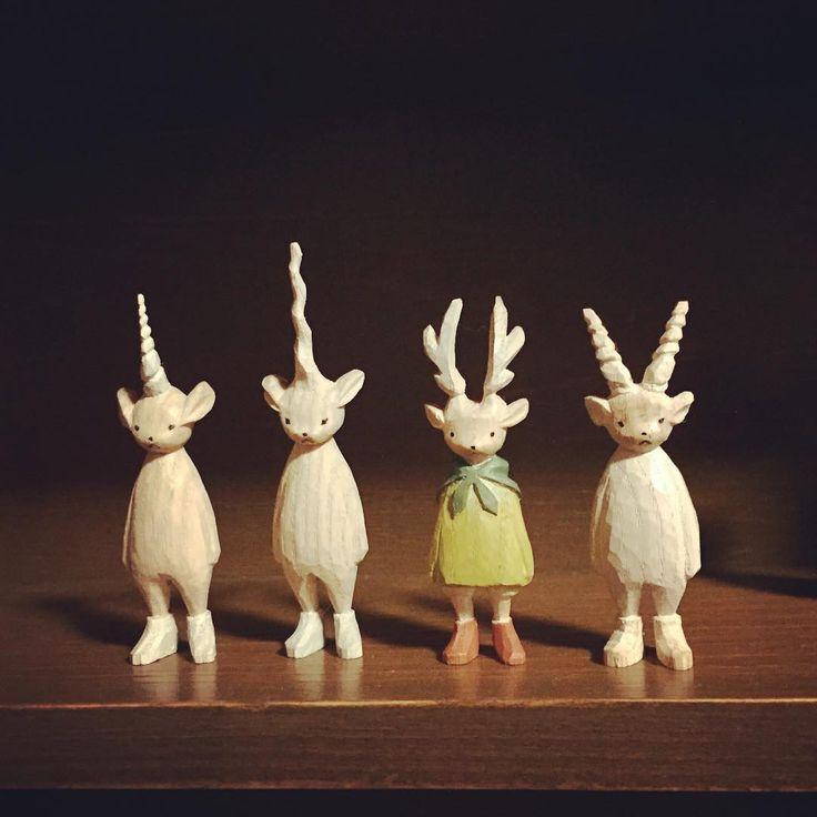 にじ画廊に連れていく角が生えた人達。  #木工くま吉  #にじ画廊  #MOKKO_KUMAKICHI  #木彫り #woodcarving #個展 #吉祥寺 #doll #handmade