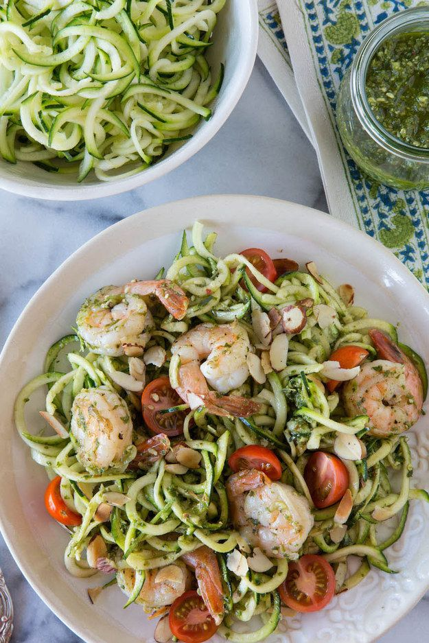 Zucchini Noodles with Grilled Shrimp in Lemon-Basil Dressing
