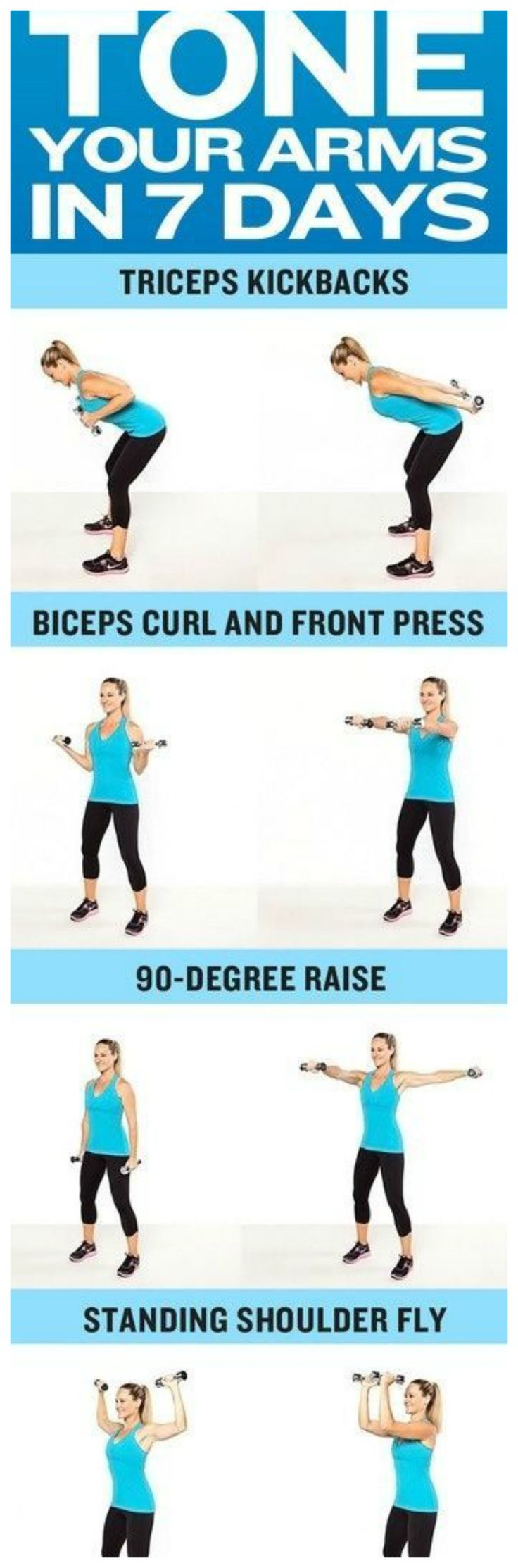 Tone your arms for summer. Do you want sexy toned arms in your tank top or bathing suit? Then try this workout. Do 2 sets of 12 of each exercise. For more healthy and fitness tips click the picture.