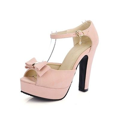 shoes on sale Women's Shoes Chunky Heel Platform/Open Toe Bowknot Sandals  Party & Evening/Dress Black/Pink/Almond