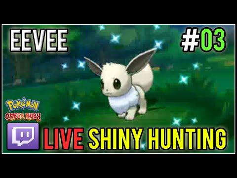 [Live] Shiny Eevee at 9th Dex Nav Chain | Live Shiny Hunt #03 | Pokemon Omega Ruby - YouTube