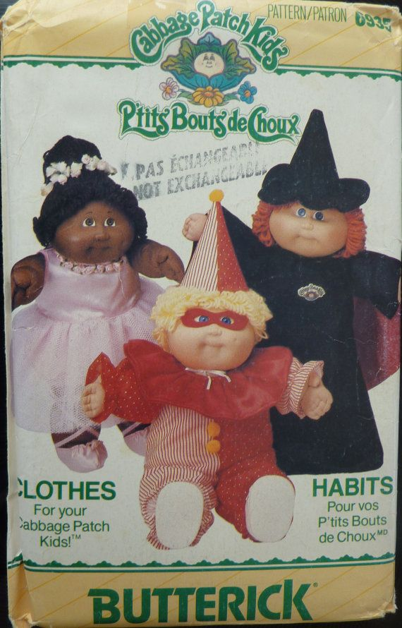 Sewing Pattern Butterick 6935 - Clothes for your Cabbage Patch Kids (Halloween costumes) - Vintage from 1980s - UNCUT
