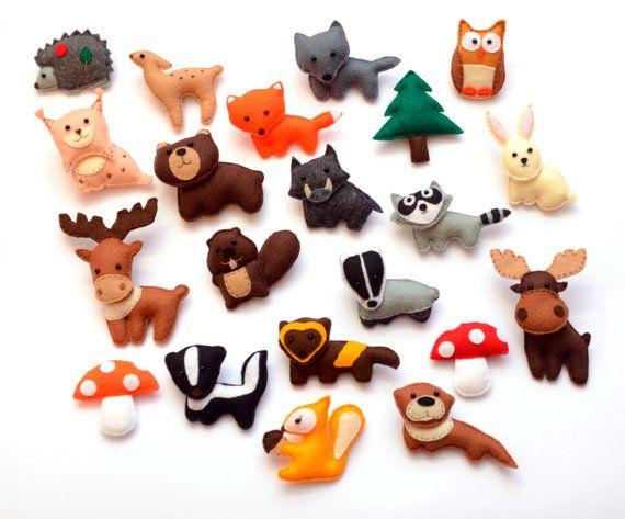 Felt Forest Animals Fridge magnets CHOOSE by LadybugOnChamomile