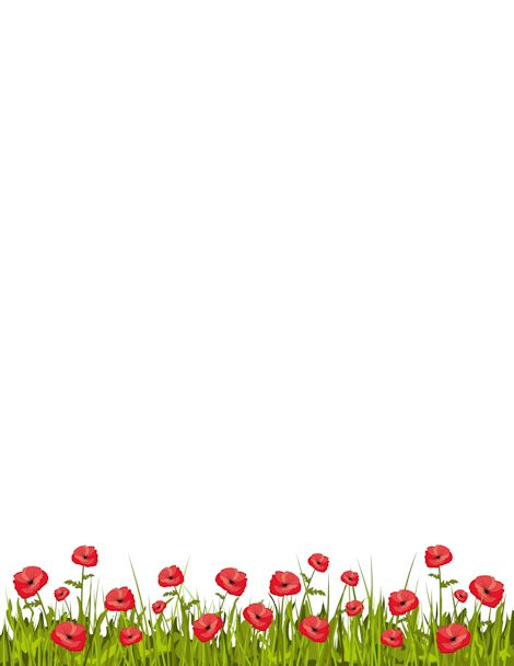 Printable poppy border. Free GIF, JPG, PDF, and PNG downloads at http://pageborders.org/download/poppy-border/. EPS and AI versions are also available.
