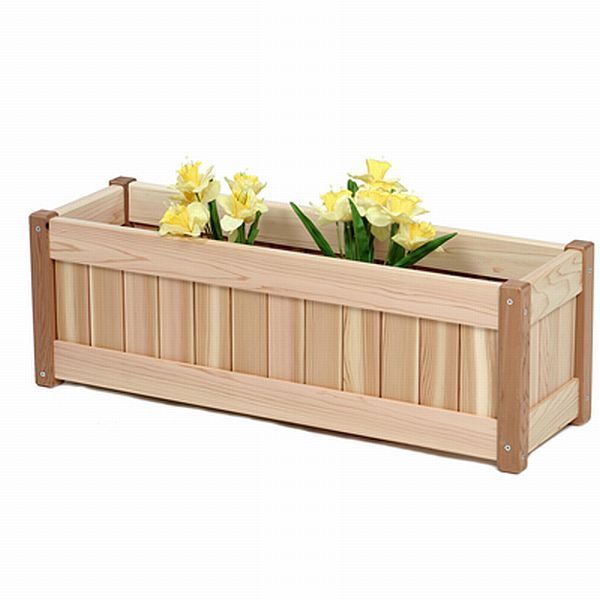 cedar window box or deck planter box kit outdoor furniture kits cedar windowbox planter this elegantly crafted cleargrain cedar wooden windowbox - Wooden Planter Boxes