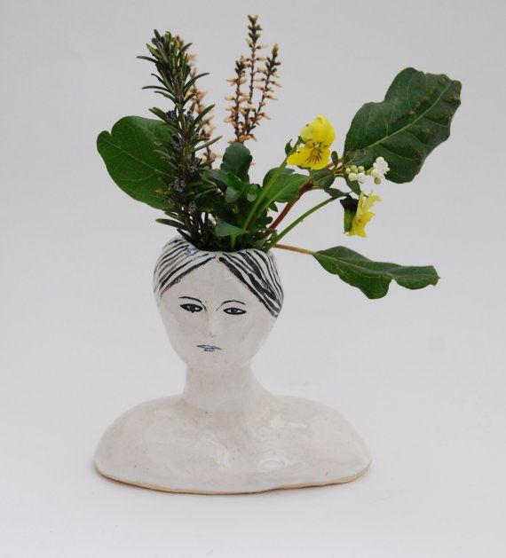 Ceramic lady bud vase in black, white and turqouise