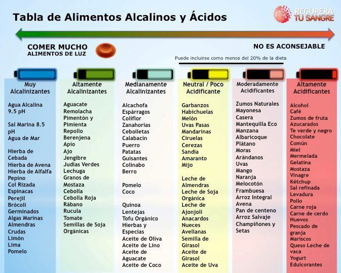 alimentos alcalinos / acidos