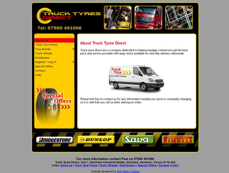 Bespoke Website Design for Truck Tyres Direct / Newtown Tyres, Truck Tyre Sales by Mail Order designed by Mid Wales Trading #website #design