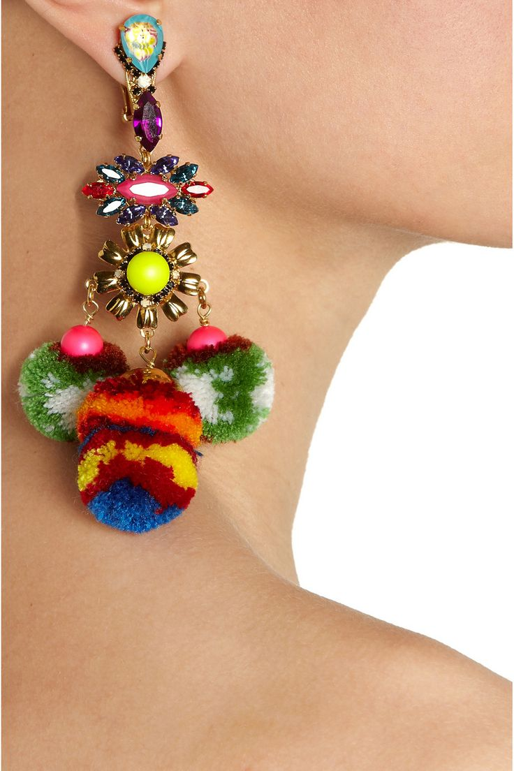 MARIO TESTINO FOR MATE | by VICKIBEAMON gold-plated, Swarovski crystal and pompom clip earrings