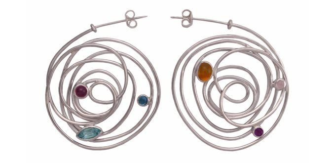 Dream Catcher E – Handmade silver earrings Material: Silver 925, Amethyst, Garnet, Topaz Dimension:Diam. 3.7 cm Weight:7.0 gram Price:$ 62.00 In Stock : 5 pairs Order it here http://www.jennyjsilver.com/collection-5-Dream-Catcher-E