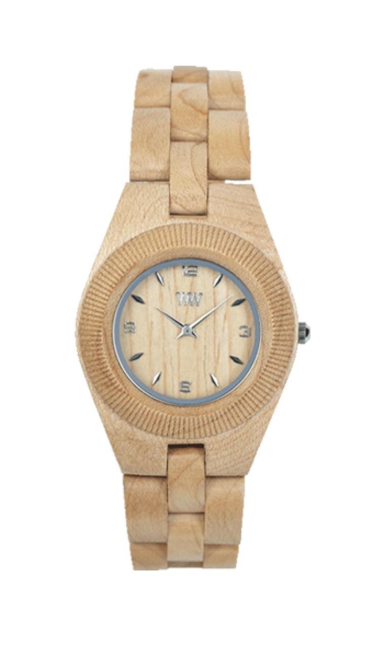 Exkluzivní hodinky WeWood pro ženy.  Elegantní design hodinek z čistého javorového dřeva v šampaňské barvě dodá vašemu stylu originální šmrnc. Strojek Miyota se zase postará o to, abyste na žádné setkání nedorazila pozdě.