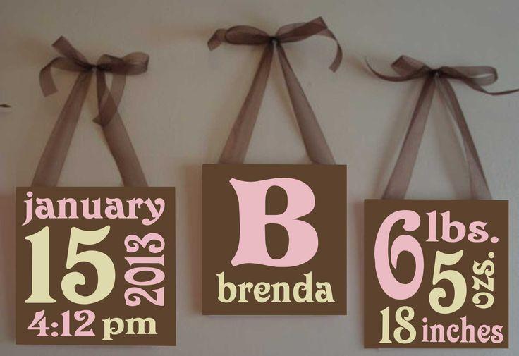 4 x 4 Custom Hand painted Nursery Baby Boy or Girl Birth Announcement Canvas Blocks