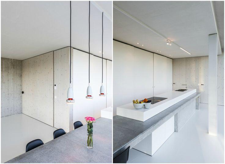 Küche Kochinsel Beton Weiß Esstisch Integriert