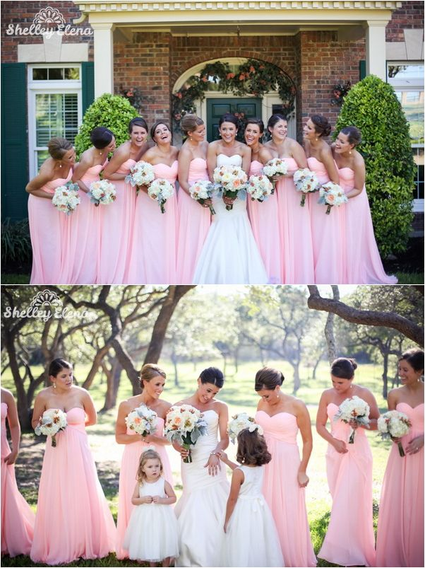 bright pink sweetheart bridesmaid dresses