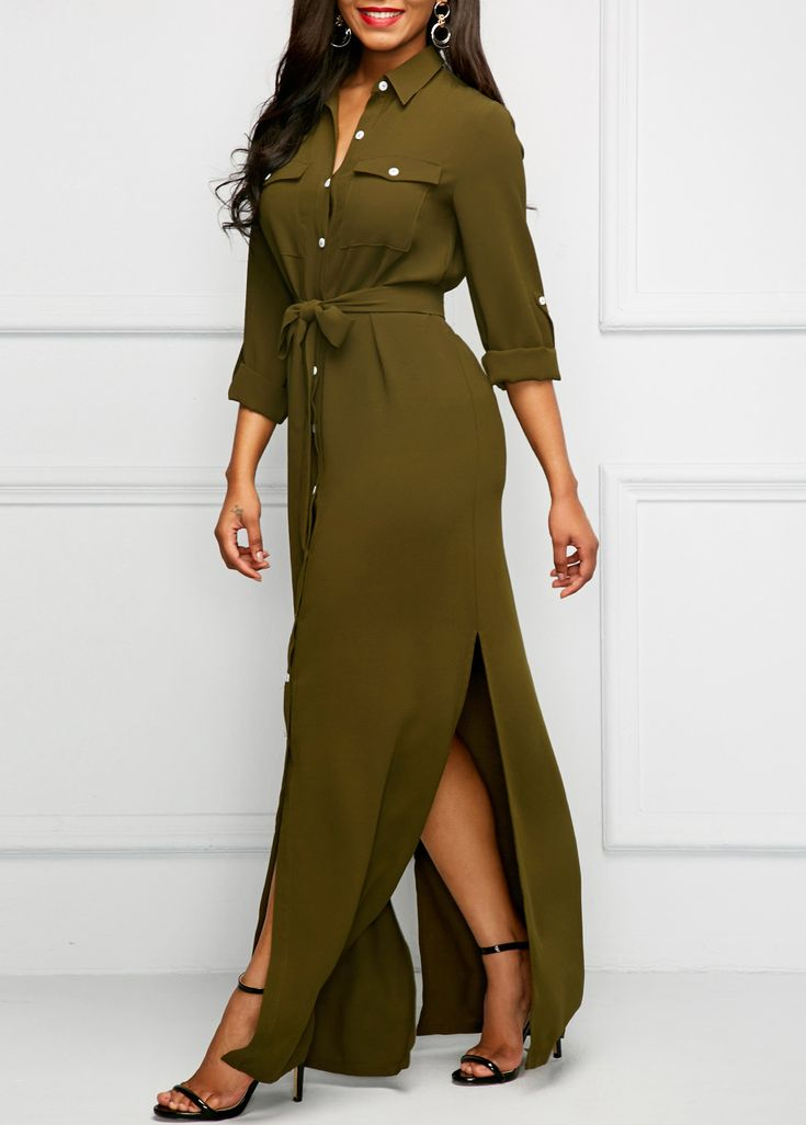 Army Green Roll Tab Sleeve Long Shirt Dress | Rosewe.com - USD $37.93