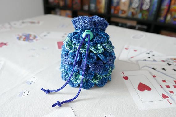 Hey, I found this really awesome Etsy listing at https://www.etsy.com/listing/584394860/dice-bag-crochet-dragon-scale-blue
