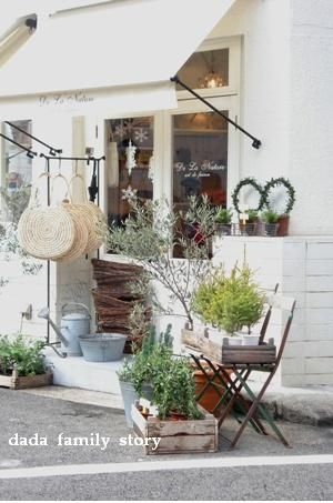 Pretty storefront #vintage #shop #window #garden #herbs #boxes #awning