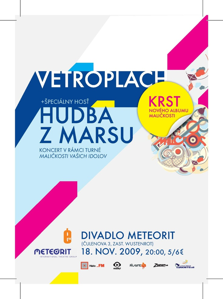 "flyer vetroplach ""hudba z marsu"" meteorit 2009 krst Maličkosti"