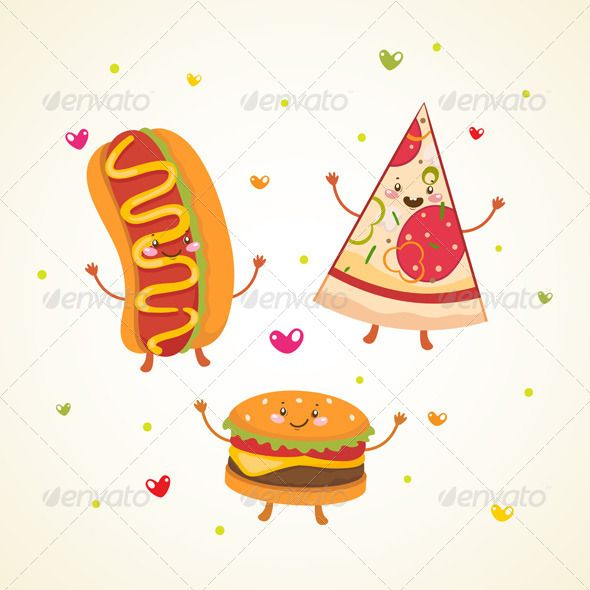 Fast Food, Burger, Hot Dog and Pizza  #GraphicRiver