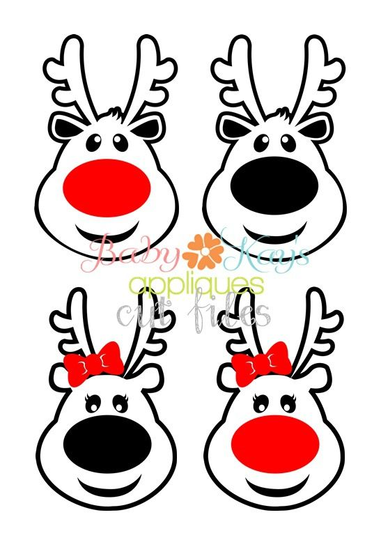 Little Reindeer Boy and Girl Set Cut File - These sweet little reindeer faces are the perfect design for any Christmas project These are outlined designs and the white areas in the image are cut out, not filled in.