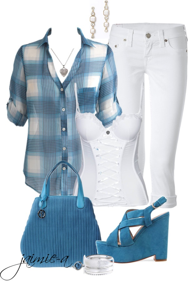 """Plaid Chiffon Shirt & Capris"" by jaimie-a on Polyvore"