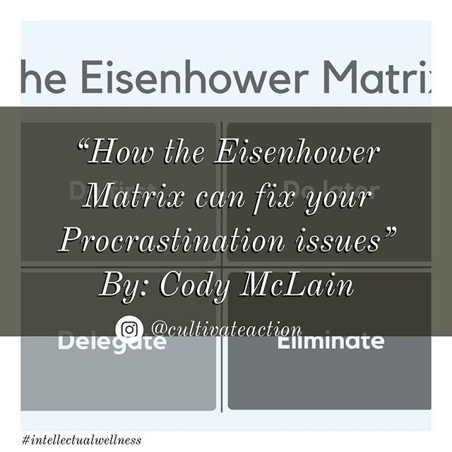 #procrastination . There are all kinds of tools out there to prevent it from happening and yet we all fall victim to it.  Cody McLain @codysview wrote a pretty cool article titled How the Eisenhower Matrix can fix your Procrastination issues on @Medium  Although there are a lot of tools out there to help prioritize your tasks the Eisenhower Matrix Cody talks about is pretty cool.  The cool thing is there is a super cool app you can download called the Focus Matrix to get going.  When I say…