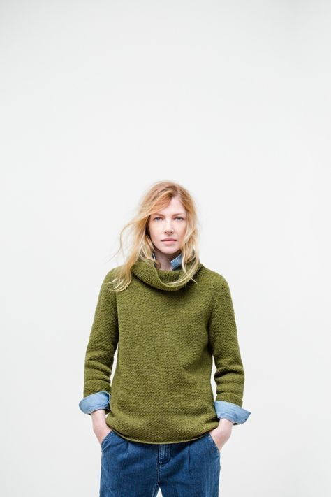 Keaton woven-stitch turtleneck with bell sleeve Brooklyn Tweed