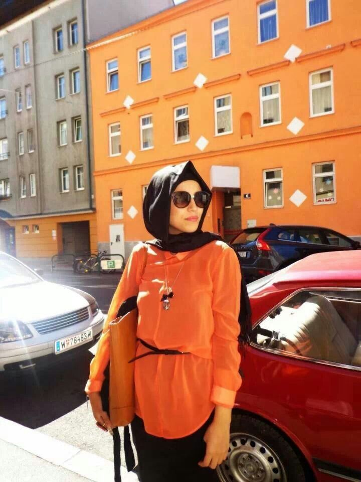 Orange and black #hijab#muslimah