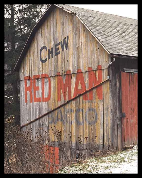 """Red Man Tobacco Barn- can't tell you how many of these I have seen over the years on my way to Tennessee, as well as the """"See Rock City"""" barns.  Oh the memories"""