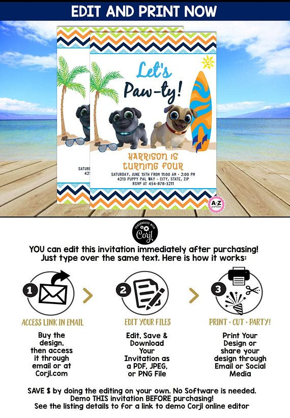 Puppy Dog Pals Invitation Surfing Summer Girl Invitation Puppy Dog Pals Birthday Printable Decoration Invite Template Pup Dogs And Puppies Puppies Pals