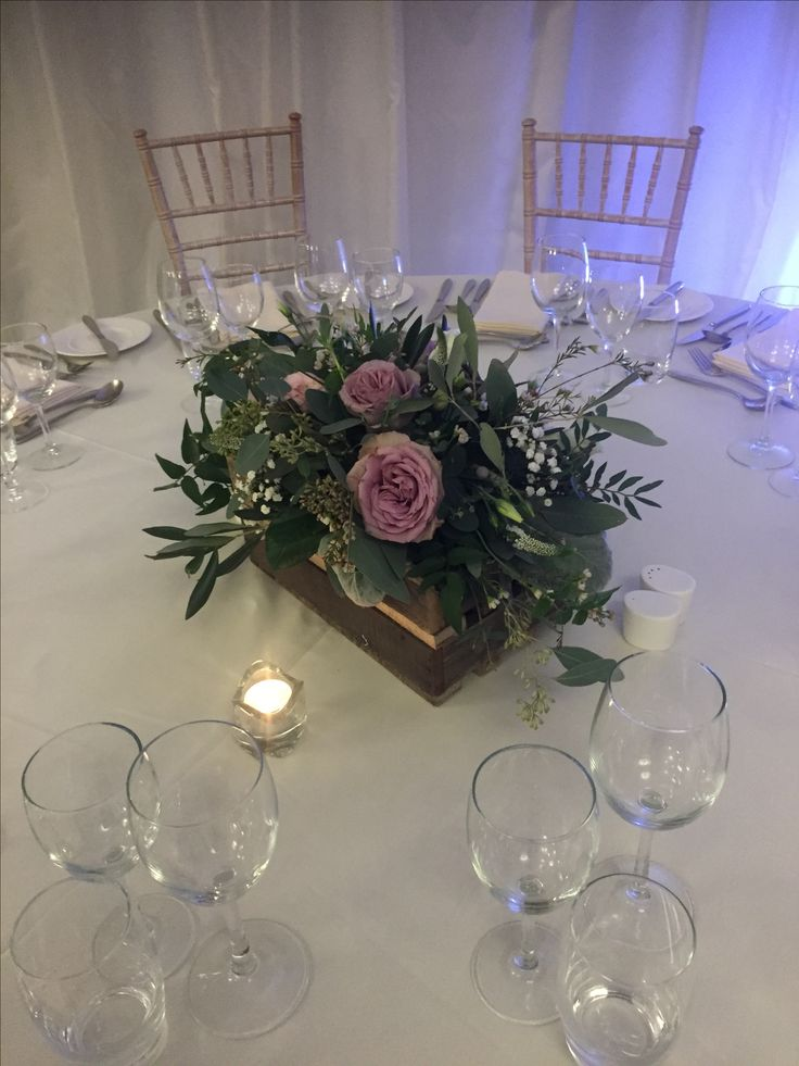 Gorgeous rustic flower box table centrepiece.