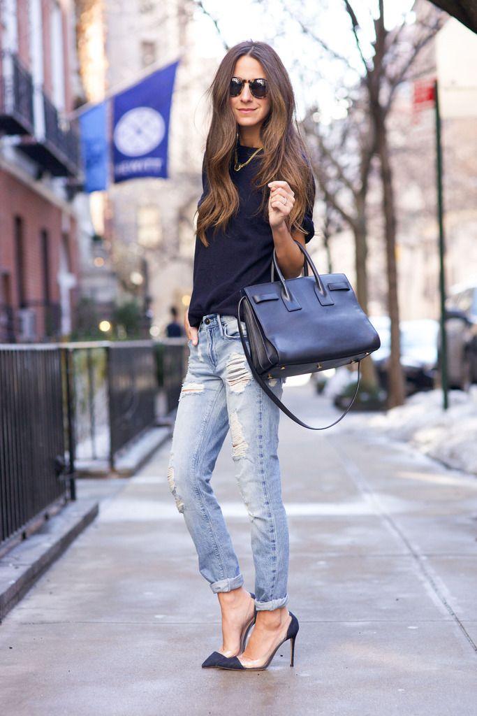 Jeans: Black Orchid Denim | Sweater: Iris & Ink | Shoes: Gianvito Rossi | Bag: Saint Laurent | Sunnies: Illesteva | Necklace: Vintage