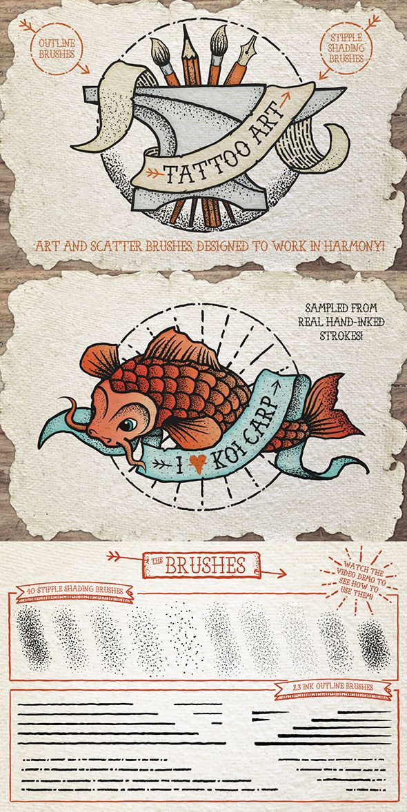 Tattoo Style Art #Illustrator Brushes • Only available here ➝ https://graphicriver.net/item/tattoo-style-art-brushes/14395923?ref=pxcr