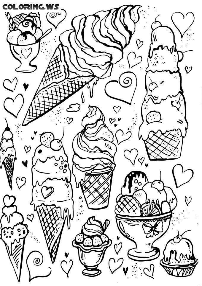 Ice Cream Coloring Page For Adults Photography Blank Sheet