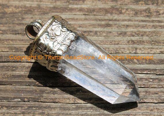 "Himalayan Tibetan Luxe Crystal Quartz Point Pendant with Tibetan Silver Cap 2.85"" x 1.15"" Tibetan Crystal Pendant Jewelry Supply - WM6240"