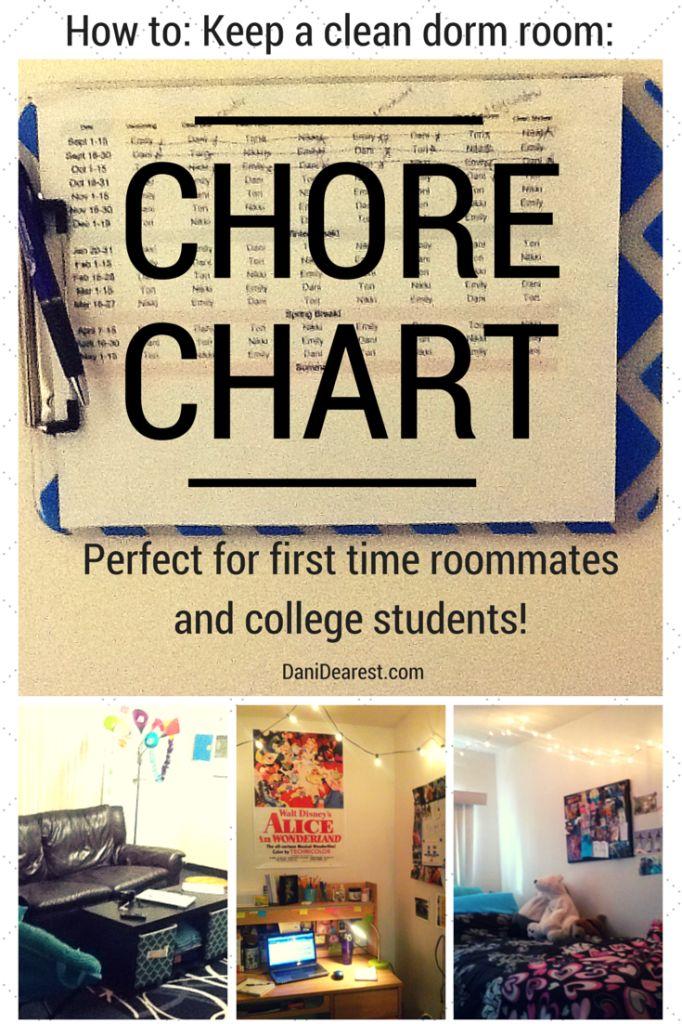 Easy way to keep a clean dorm room: Roommate Chore Chart! #clean #dorm #college http://danidearest.wordpress.com/ #organize