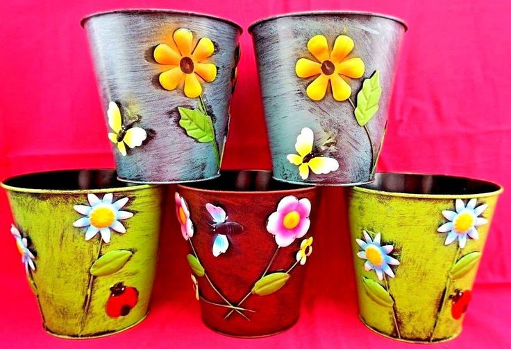 "5 x Large Colourful Metal Flower Plant Pots 6"" Planter retro vintage style chic"