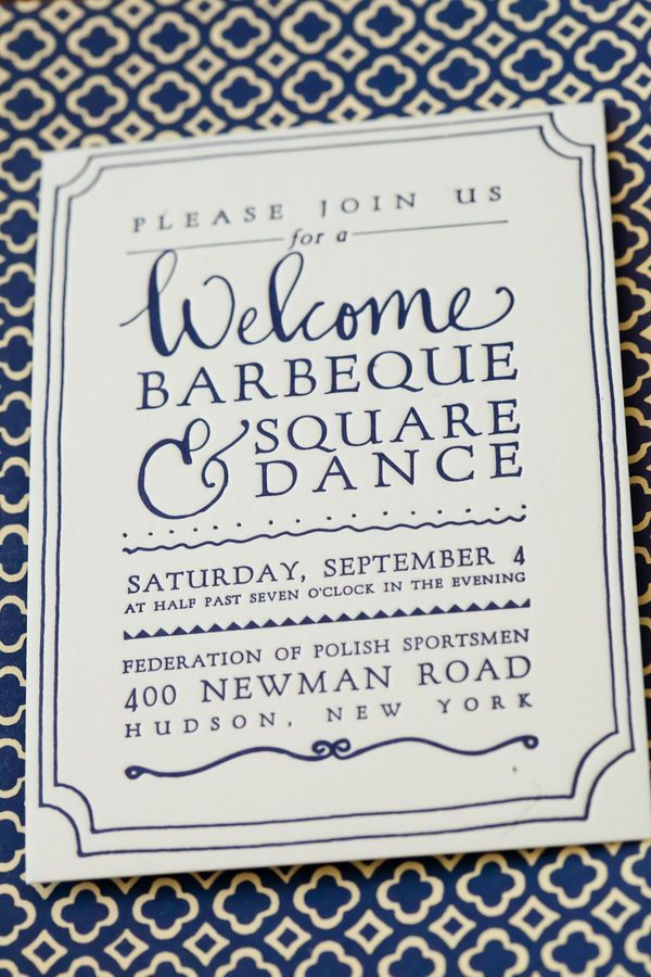Beautiful invitation.  (Plus, I would love to go to a barbeque and square dance!)