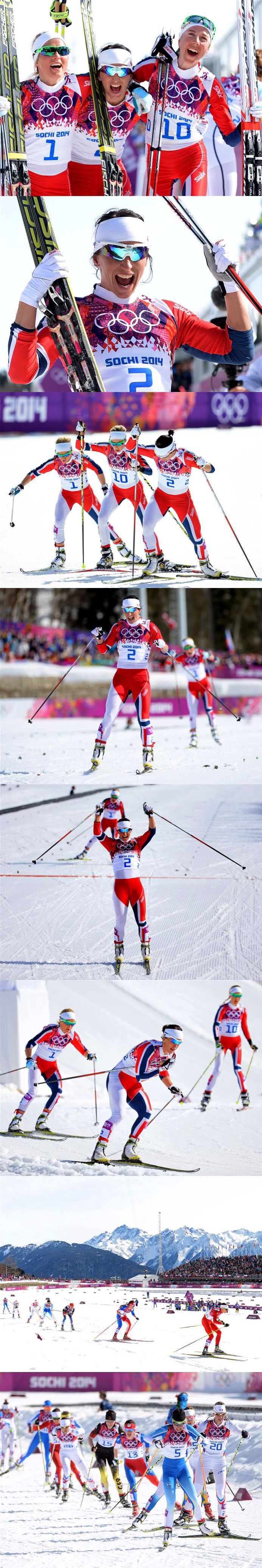 Sochi 2014 Day 16 /Cross Country Ladies' 30 km Mass Start Free, (L-R) Silver medalist Therese Johaug of Norway, gold medalist Marit Bjoergen of Norway and bronze medalist Kristin Stoermer Steira of Norway celebrate after the Women's 30 km Mass Start Free