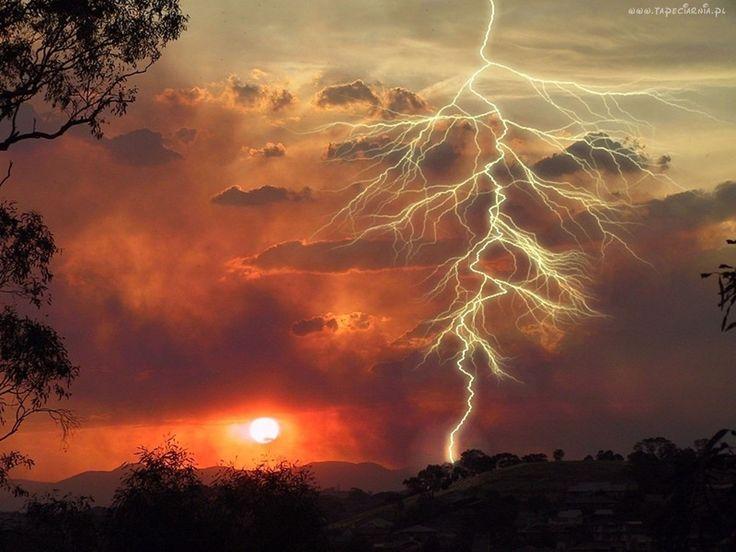 Burza, Zachód, Słońca, Chmury