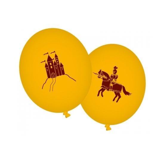 Gele ridder thema ballonnen. Er zitten 8 oranje ballonnen in een zakje met een kasteel of een ridder opdruk. Formaat: (opgeblazen) 90 cm. Leuk voor uw ridder kinderfeestje of verjaardag.