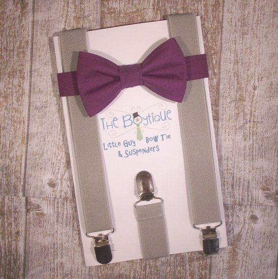 Purple Bow Tie and Grey Suspenders, Toddler Suspenders, Baby Suspenders, Ring Bearer, Eggplant, Plum on Etsy, $29.00