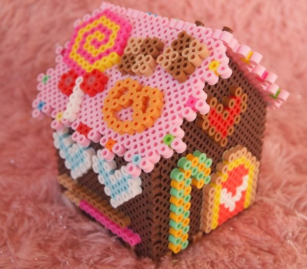 3D Christmas Gingerbread House Perler Beads