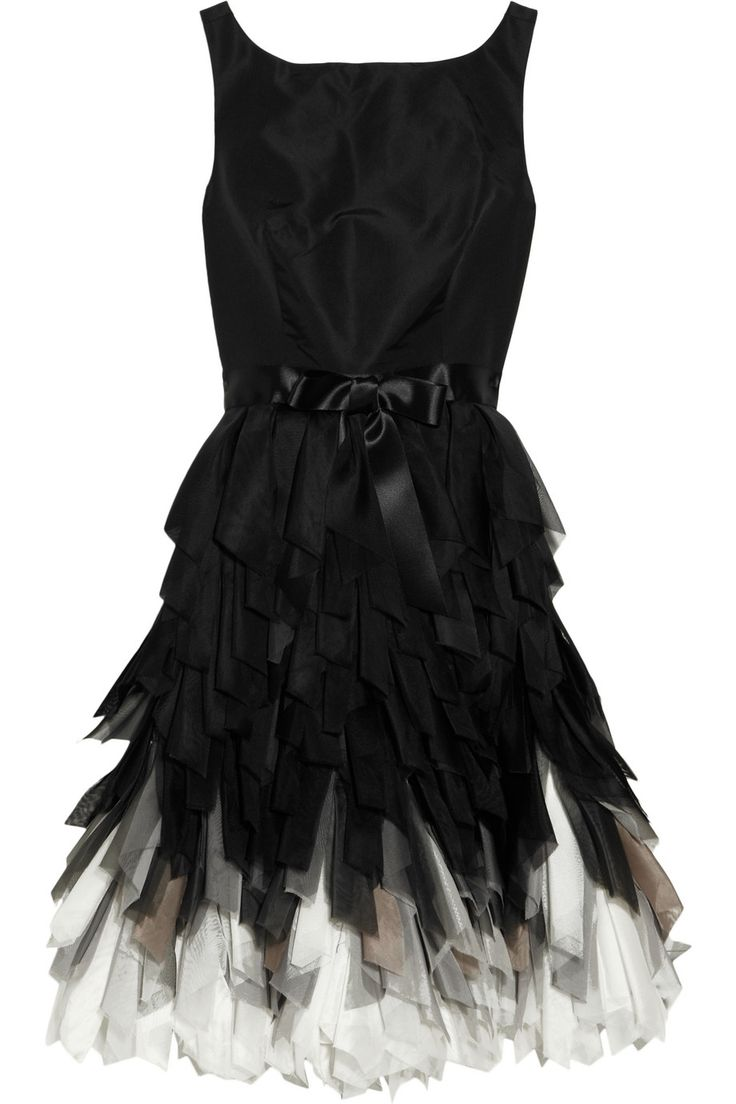 Fringed silk dress / OSCAR DE LA RENTA