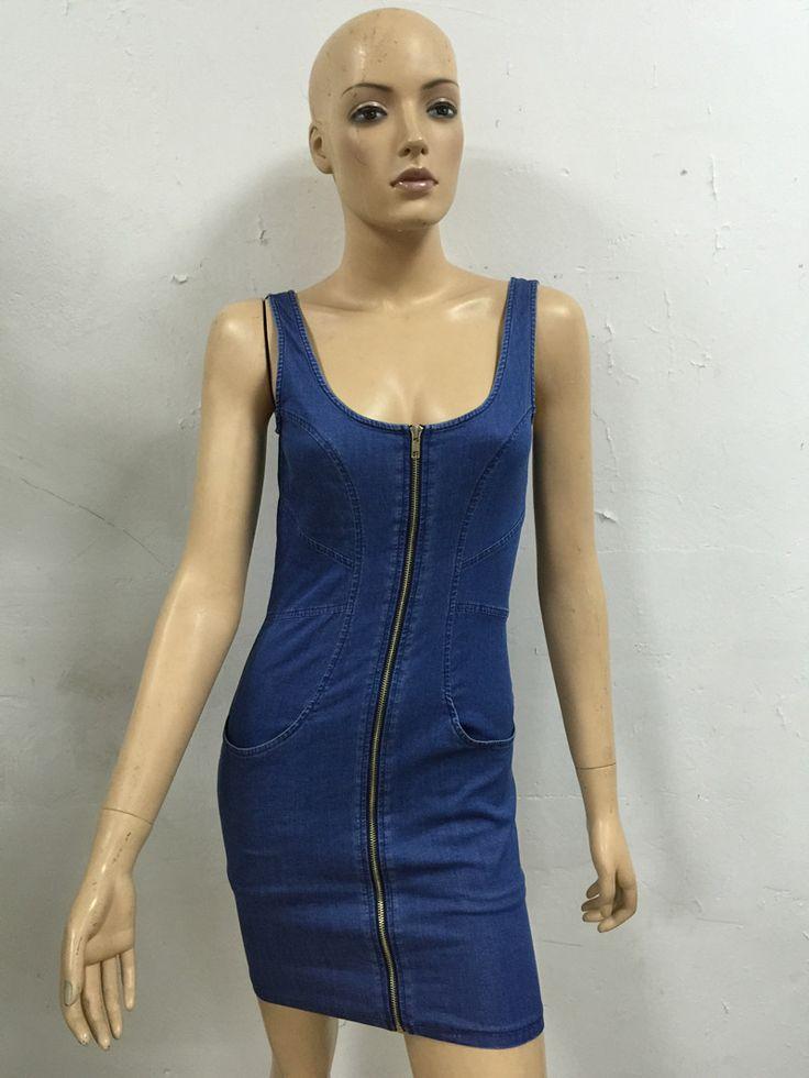 Mini Short Sexy Denim Dresses Zipper Closure Type Women Summer Dress New Sleeveless Above Knee Pencil Casual Dress Sundress