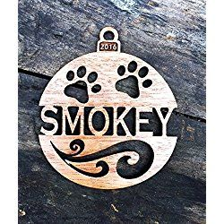 Personalized Dog's 2016 Wood Christmas Ornament