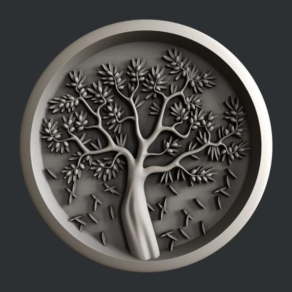 3d STL models for CNC Artcam relief tree olive Aspire