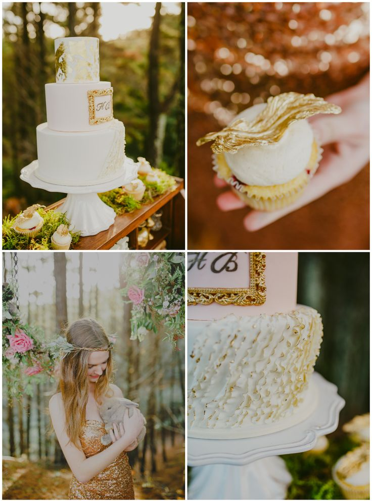 Incredible pink and gold wedding cake with whimsical ruffle and gold leaf. Magnolia Kitchen and Meant To Be